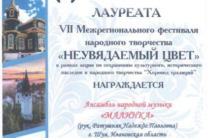 Ансамбль народной музыки «Малинка» Лауреат VII Межрегионального фестиваля народного творчества «Неувядаемый цвет»